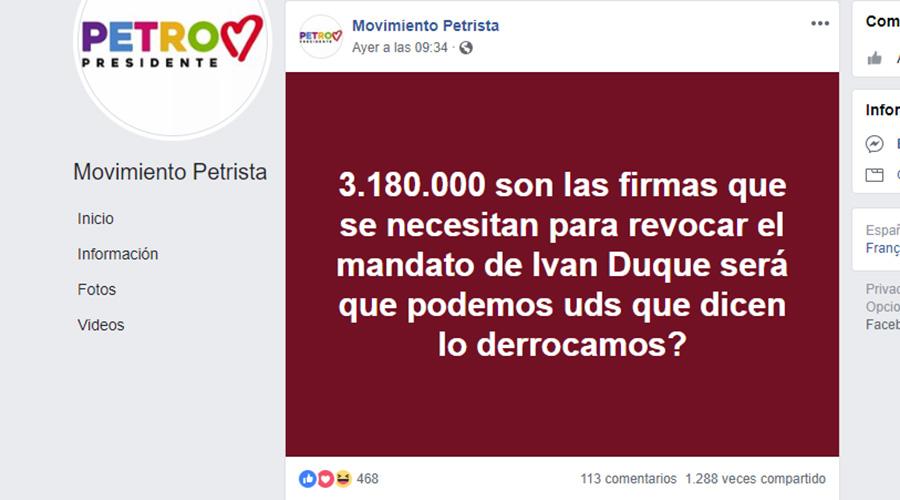 Publicación en página petrista de Facebook sobre supuesta revocatoria a Duque.