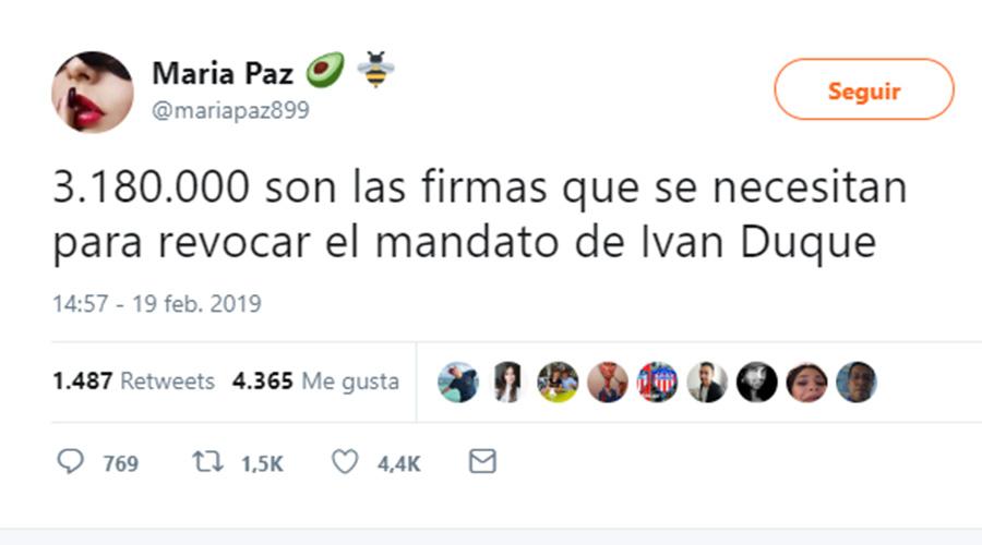 Tuit de @mariapaz899 sobre supuesta revocatoria contra el presidente Duque