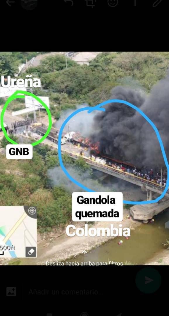 Imagen viral en redes sobre ubicación de los camiones quemados.
