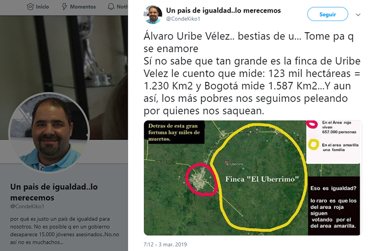 Tuit y mapa falsos sobre la extensión de El Ubérrimo