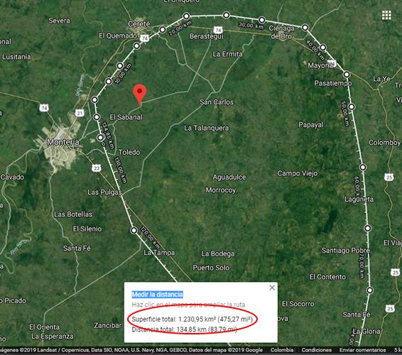 Medición aproximada del área del el círculo amarillo en Google Maps