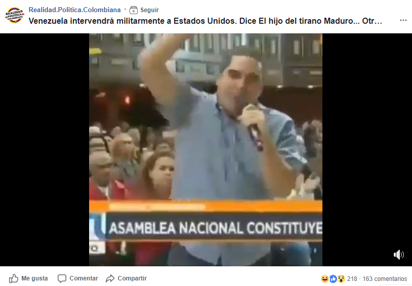 Captura de pantalla de la publicación de Facebook con el video correspondiente.