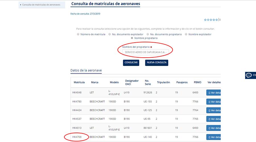 Registro de propiedad del avión en Aerocivil