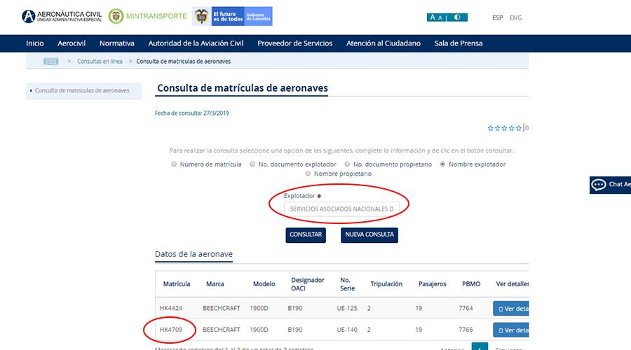 Registro explotación del avión en Aerocivil