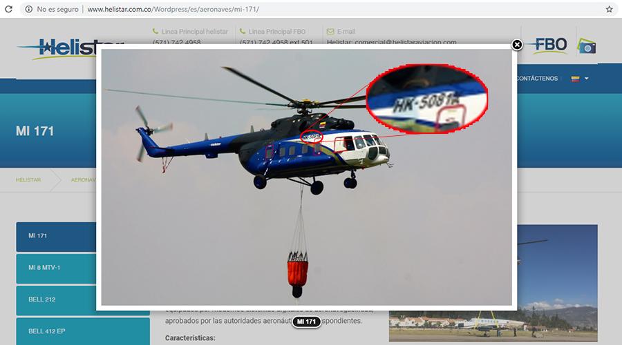 Captura de la página de Helistar con foto del mismo helicóptero