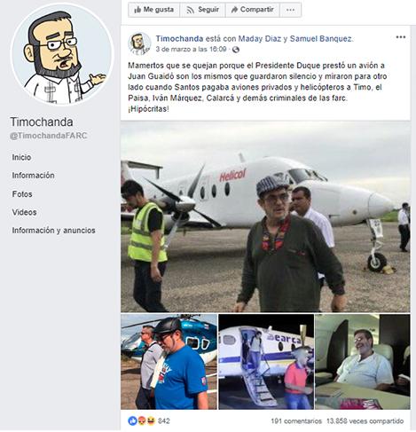 Publicación en Facebook sobre los vuelos chárter para jefes de las Farc