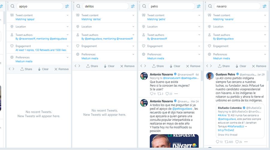 Captura de pantalla de los resultados de las búsquedas en TweetDeck