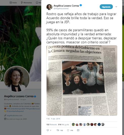 Captura de pantalla del tuit de Angélica Lozano sobre Justicia y Paz