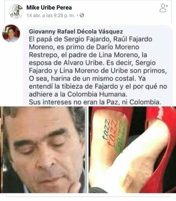 Meme que asegura que los papás de Sergio Fajardo y Lina Moreno eran primos