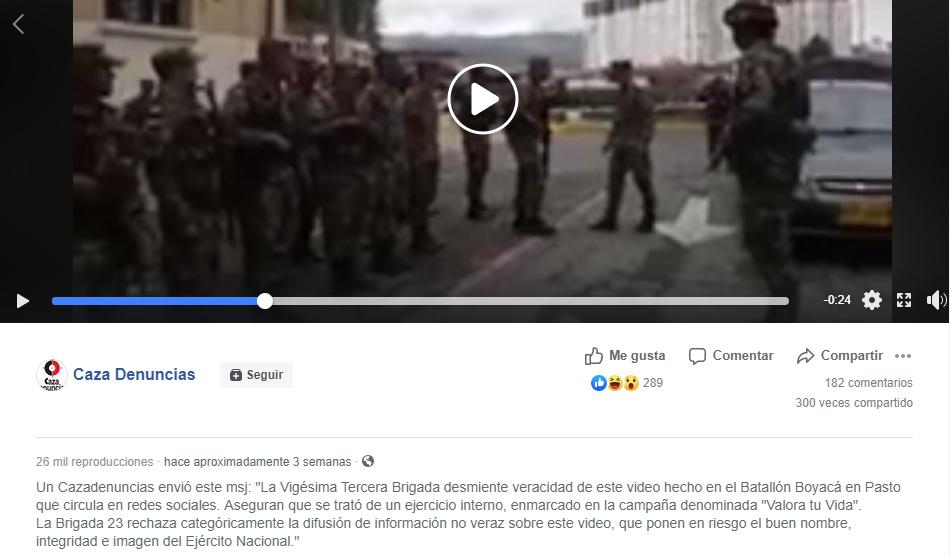 Captura de pantalla de aclaración sobre el video en Facebook