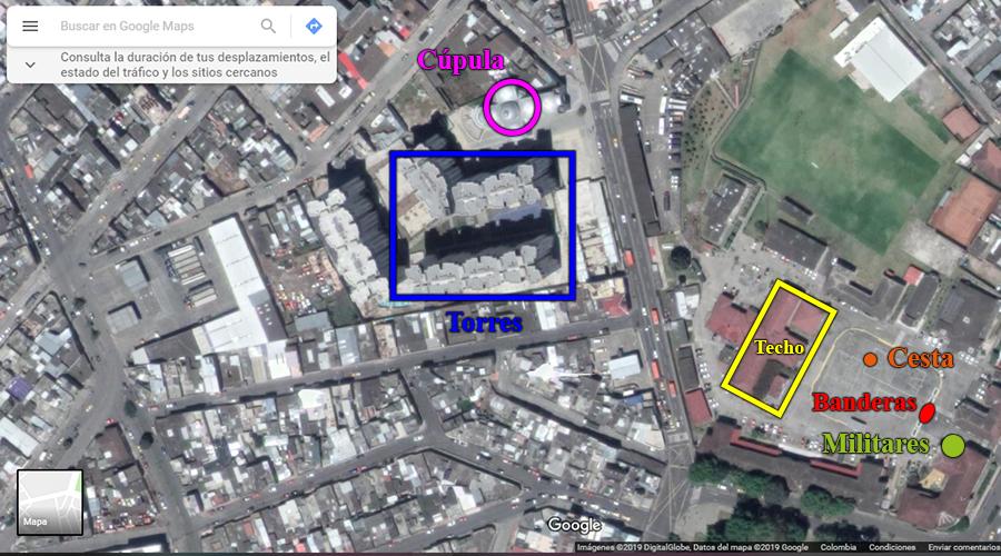 Plano más amplio del batallón en Google Maps con las señas