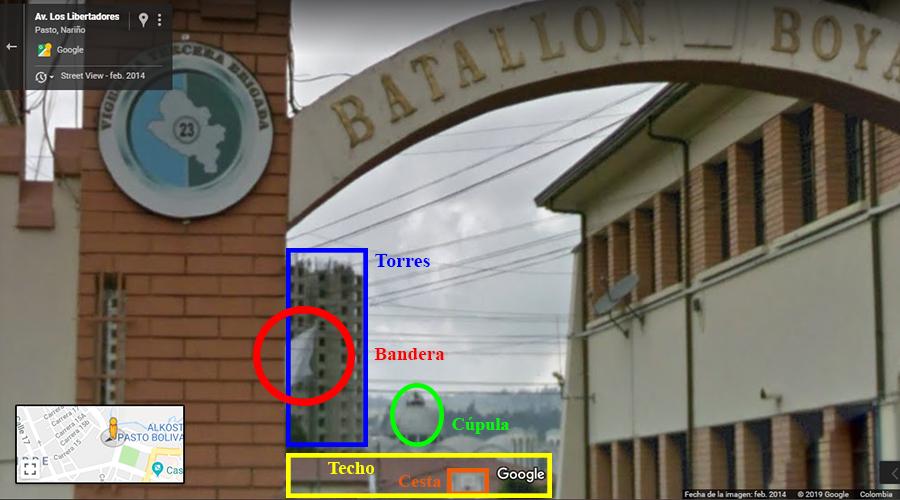 Captura de pantalla de Google Street View con las señas