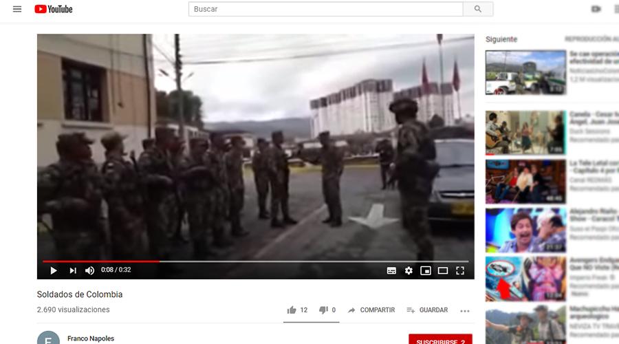 Captura de pantalla del video en YouTube