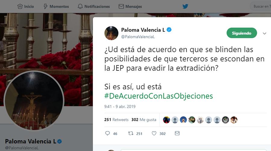 Captura de pantalla del tuit de la senadora Paloma Valencia