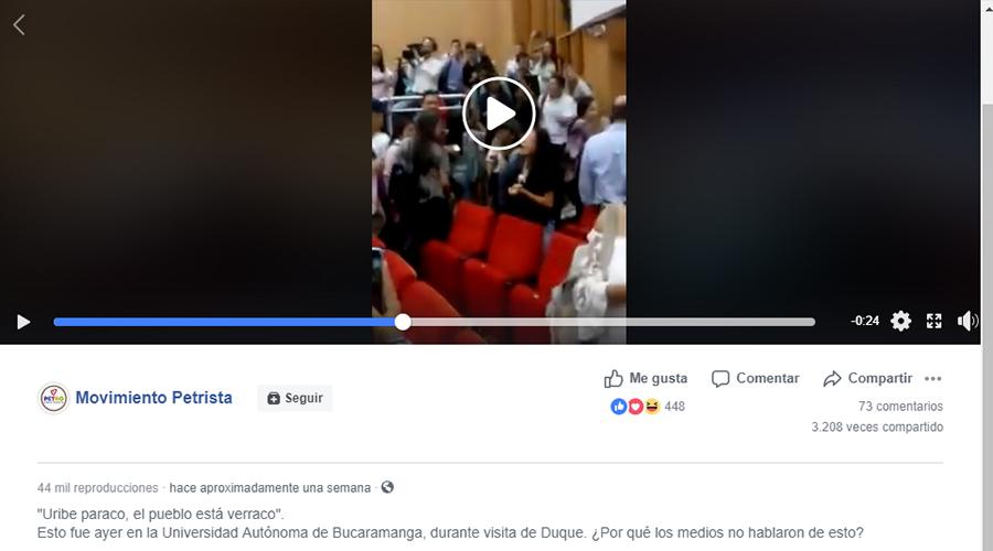 Captura de pantalla del video y el mensaje que lo acompaña en Facebook