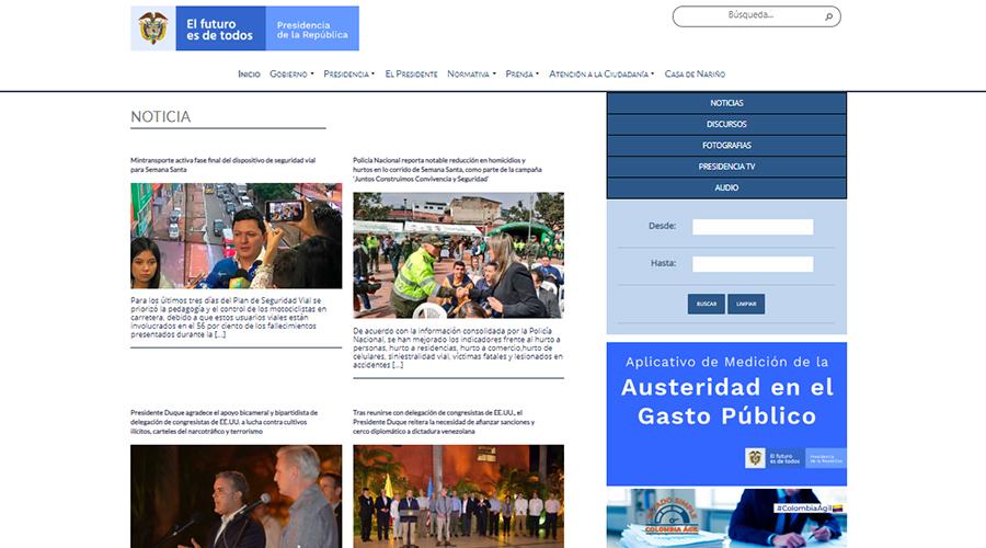 Captura de pantalla de la sección de noticias en la web de Presidencia