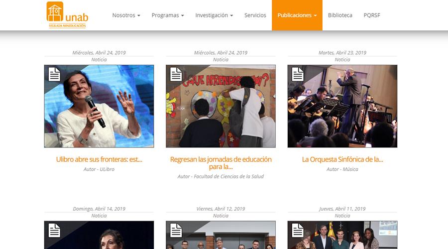 Captura de pantalla de la sección noticias en la web de la UNAB