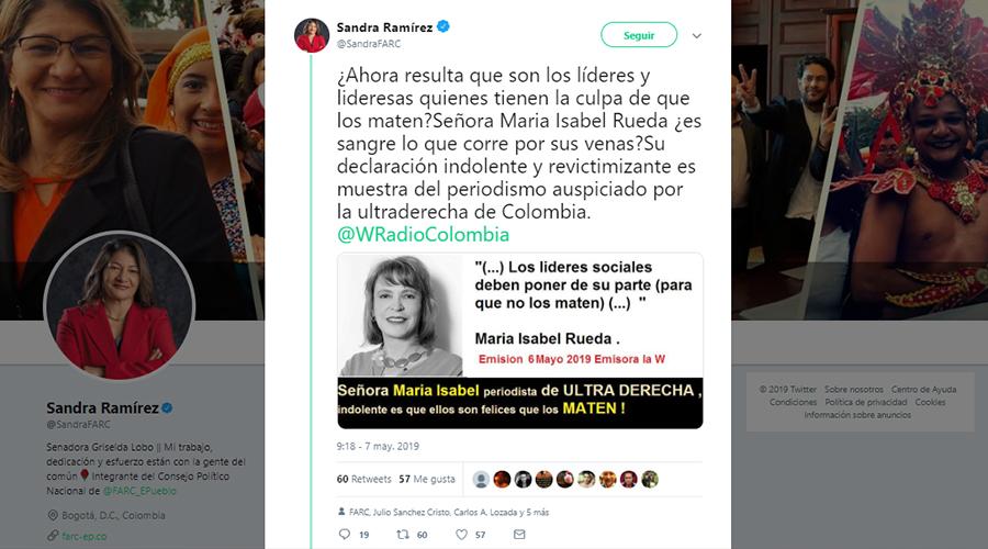 Tuit de la senadora de la Farc Sandra Ramírez sobre María Isabel Rueda