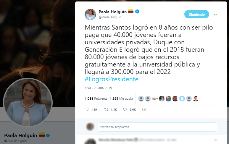 Tuit de la senadora Paola Holguín sobre Generación E vs. Ser Pilo Paga