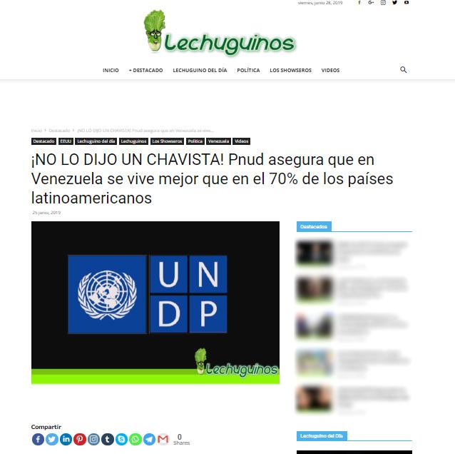 Captura de pantalla del titular en Lechuguinos