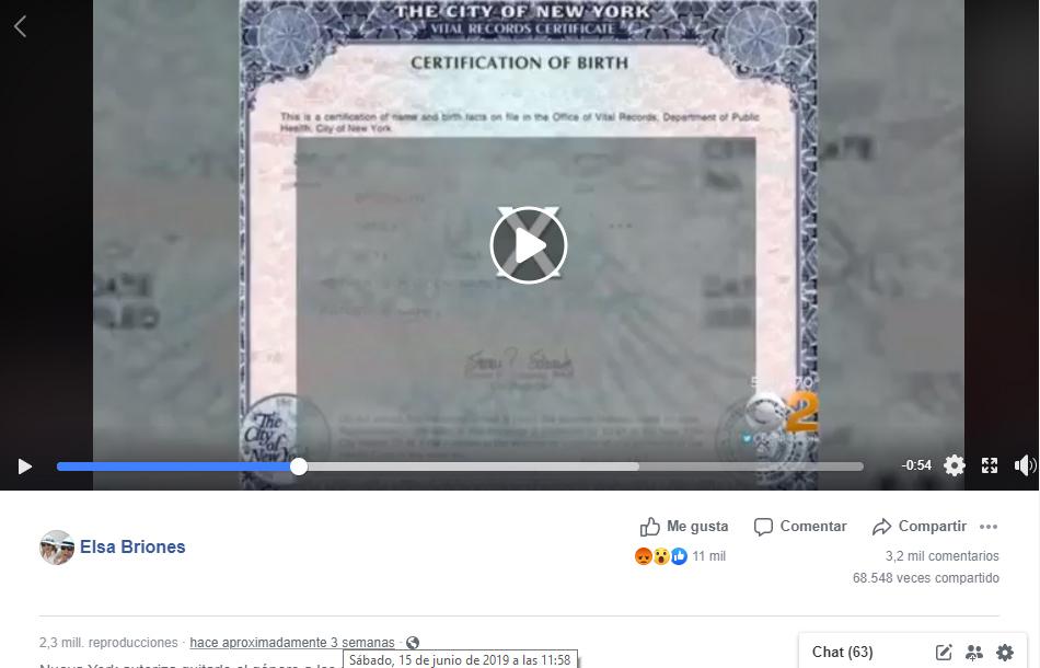 Captura de pantalla de la publicación reciente del video en Facebook