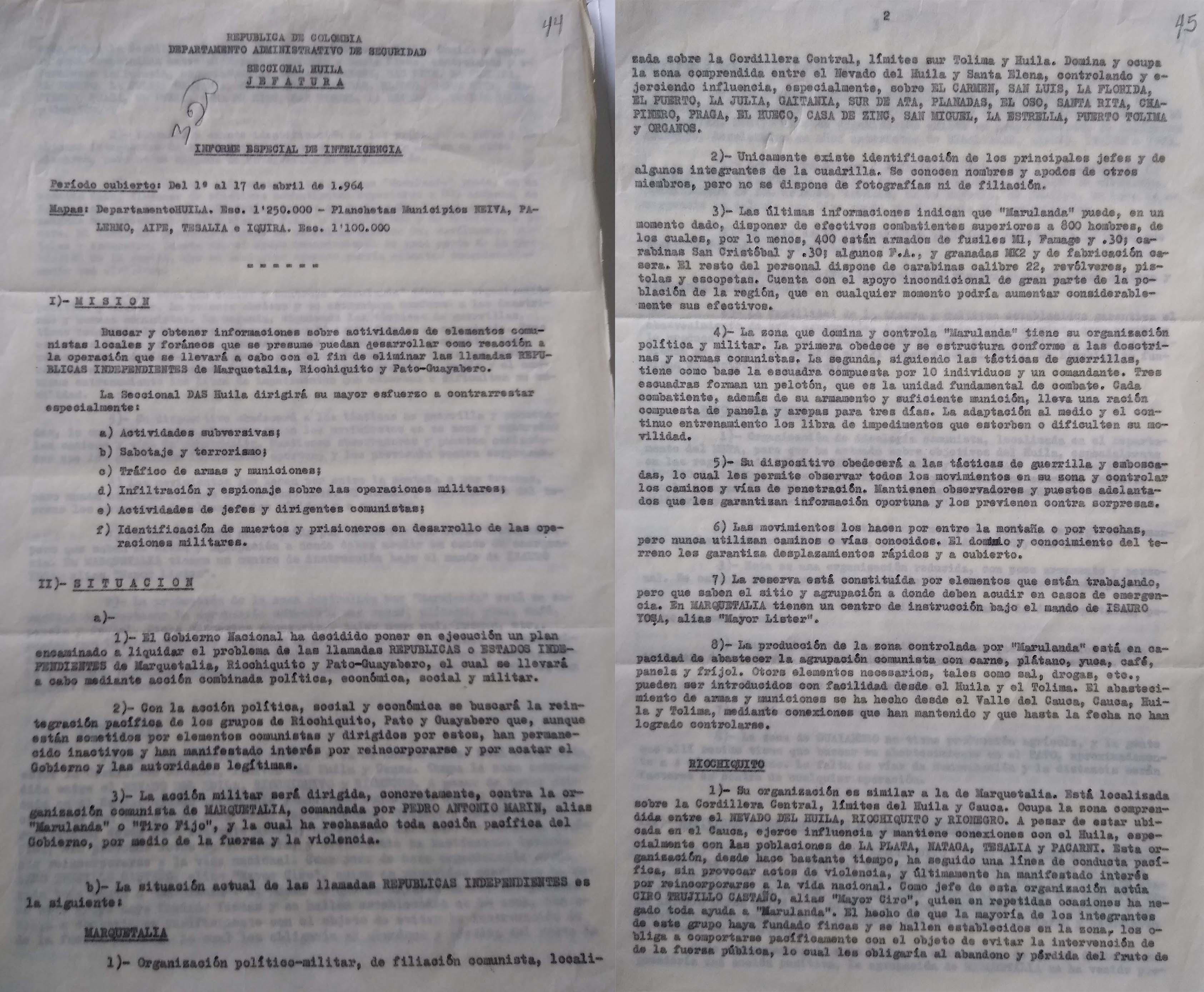 Informe de inteligencia del DAS al Gobierno sobre Marquetalia