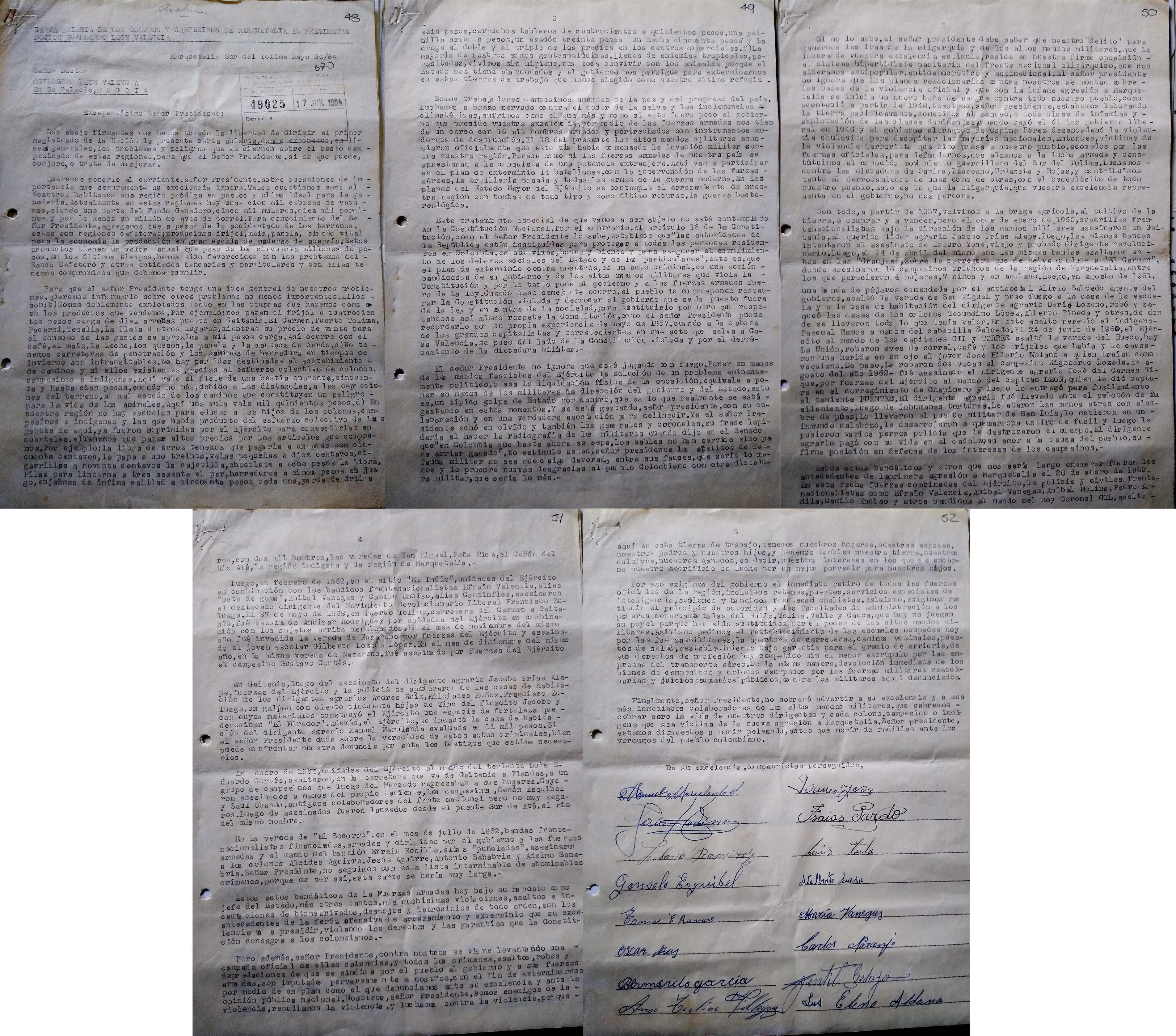 Carta de Tirofijo y otros líderes de Marquetalia al presidente Valencia