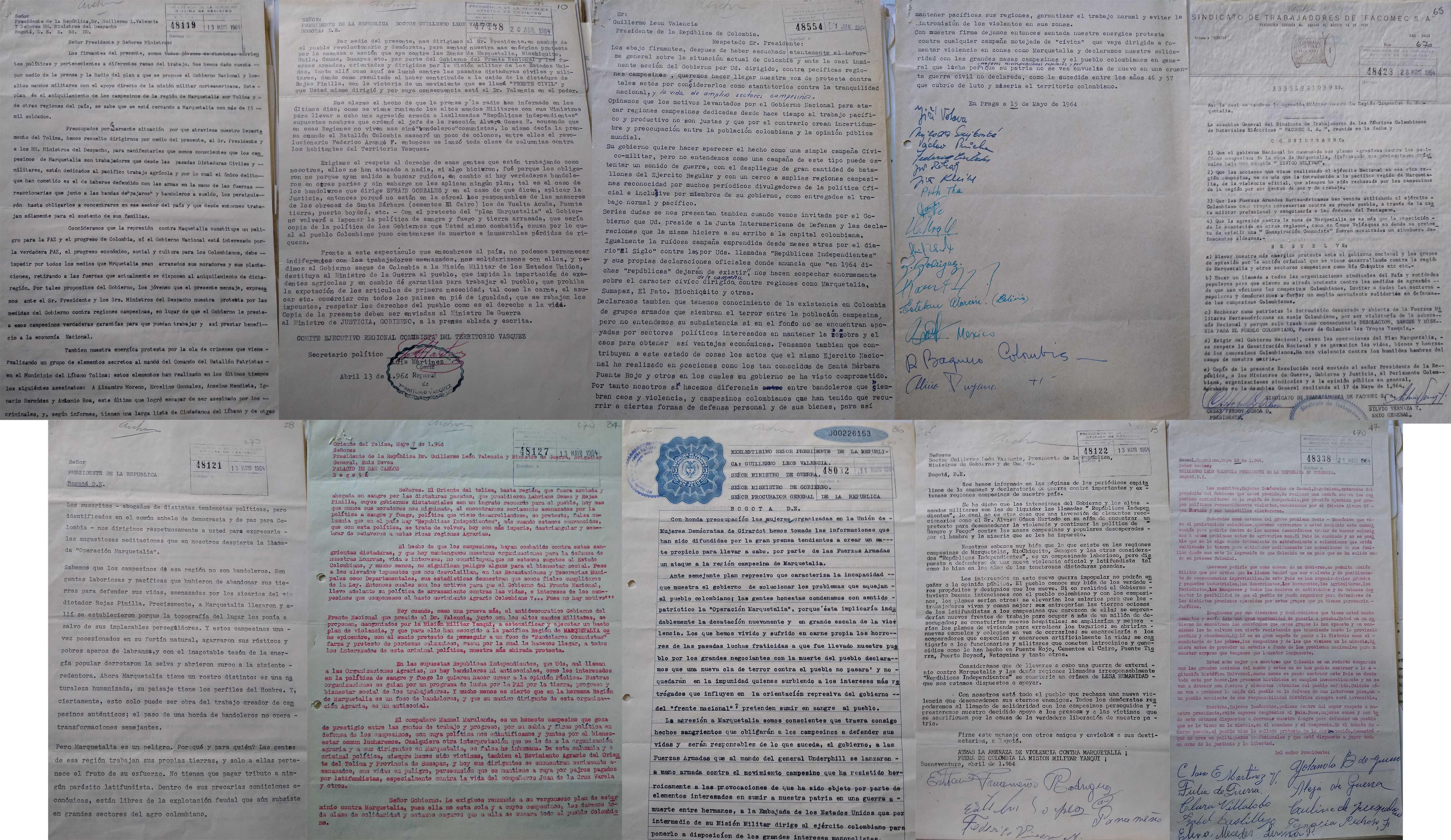 Diversos documentos dirigidos al gobierno Valencia en rechazo a la Operación Marquetalia