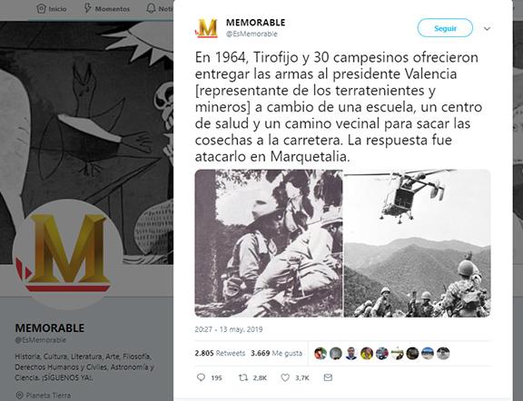 Captura de pantalla del tuit cuestionable sobre la carta de Tirofijo a Valencia