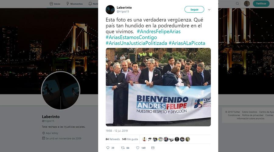 Captura de pantalla de tuit con la supuesta foto de bienvenida a Arias