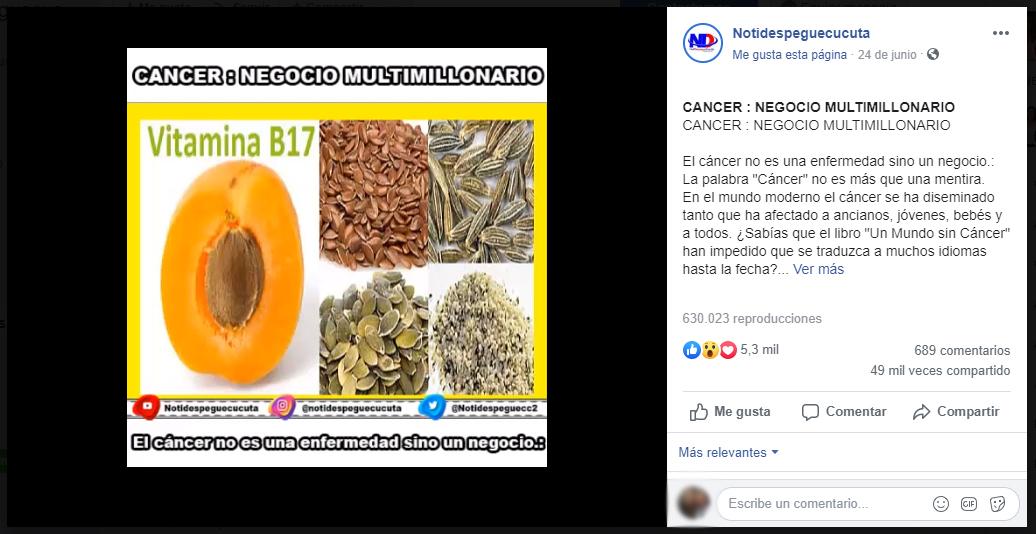 Captura de pantalla del video sobre el falso tratamiento en Facebook
