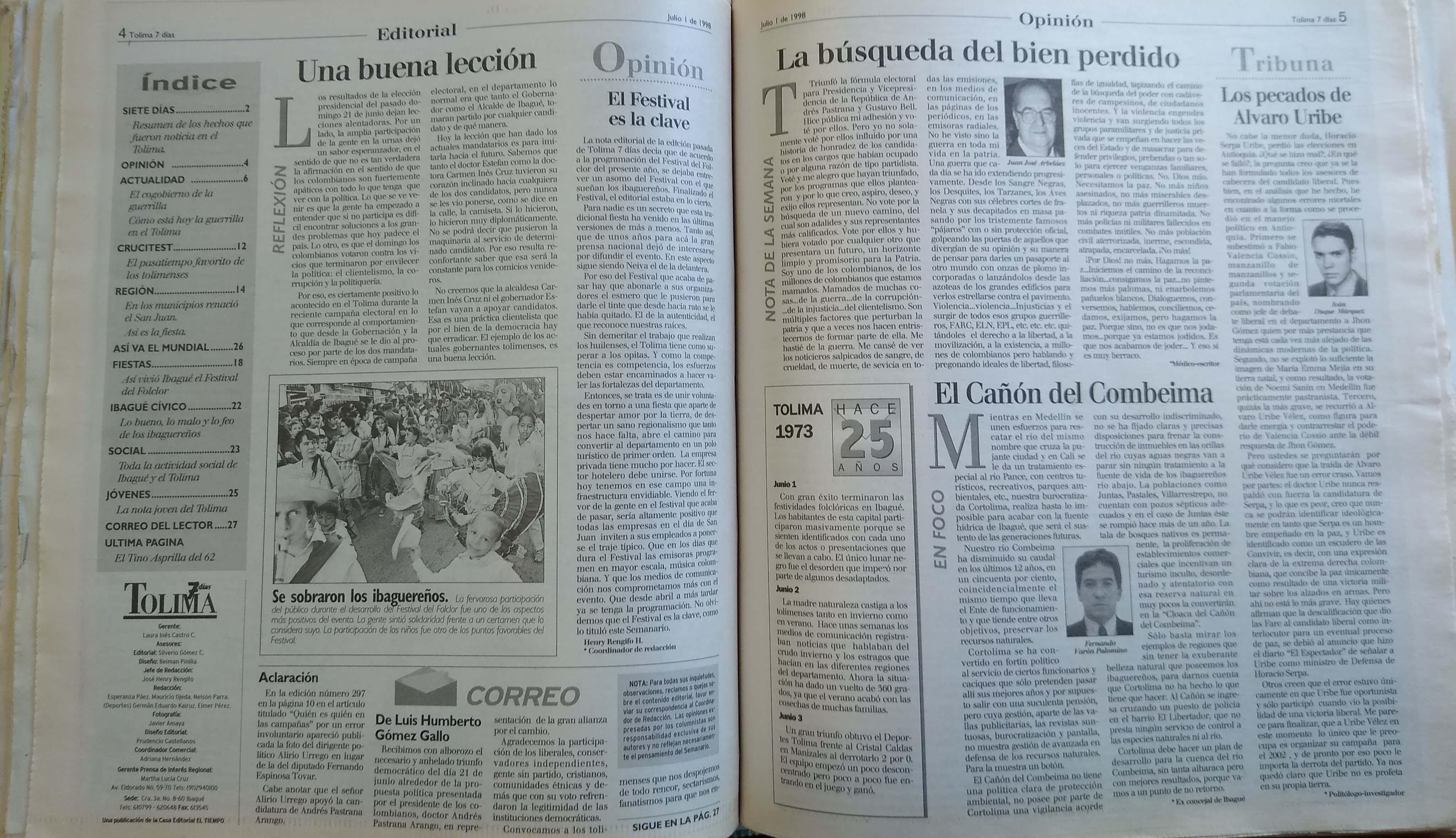 Páginas 4 y 5 de Tolima 7 Días, edición del 1 de julio de 1998