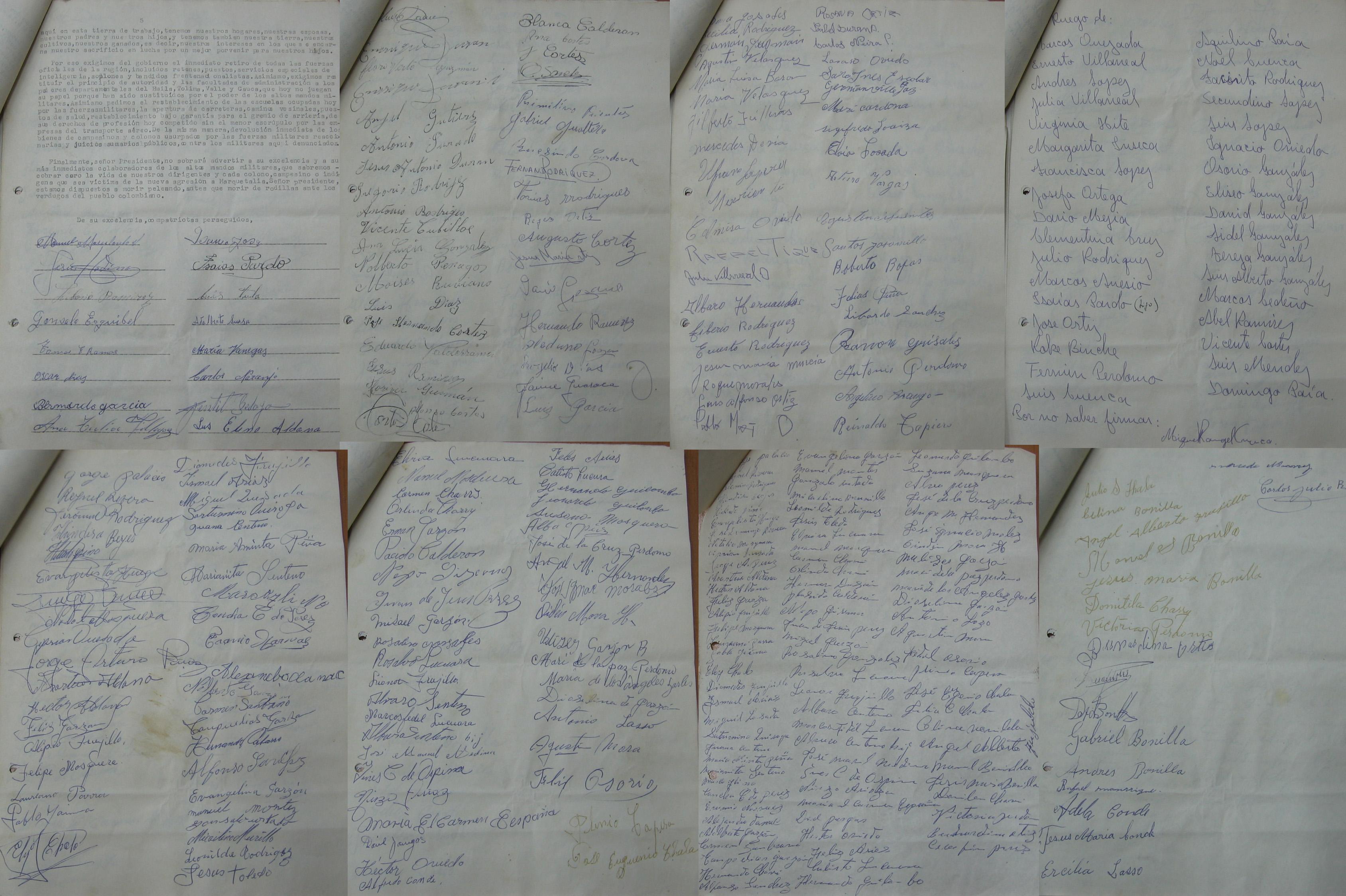 Firmas que acompañaban la carta de Marquetalia al presidente Valencia
