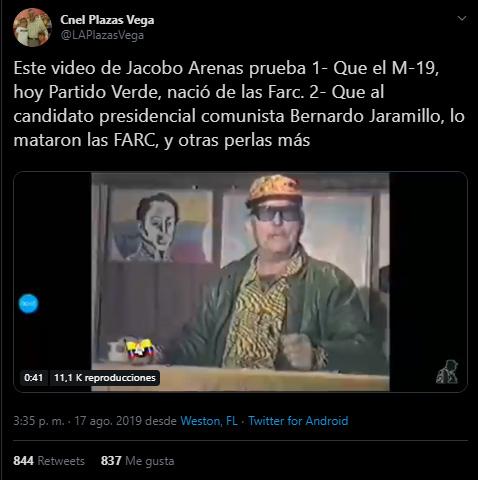 Captura de pantalla del tuit de Plazas Vega sobre el video de Jacobo Arenas