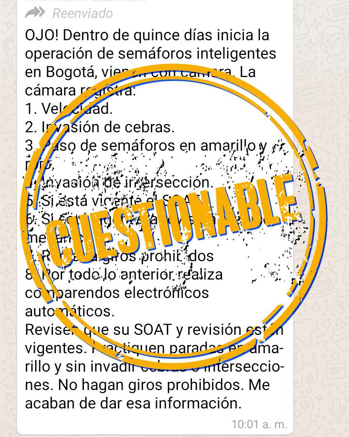 Captura de pantalla de la cadena sobre semaforización en WhatsApp