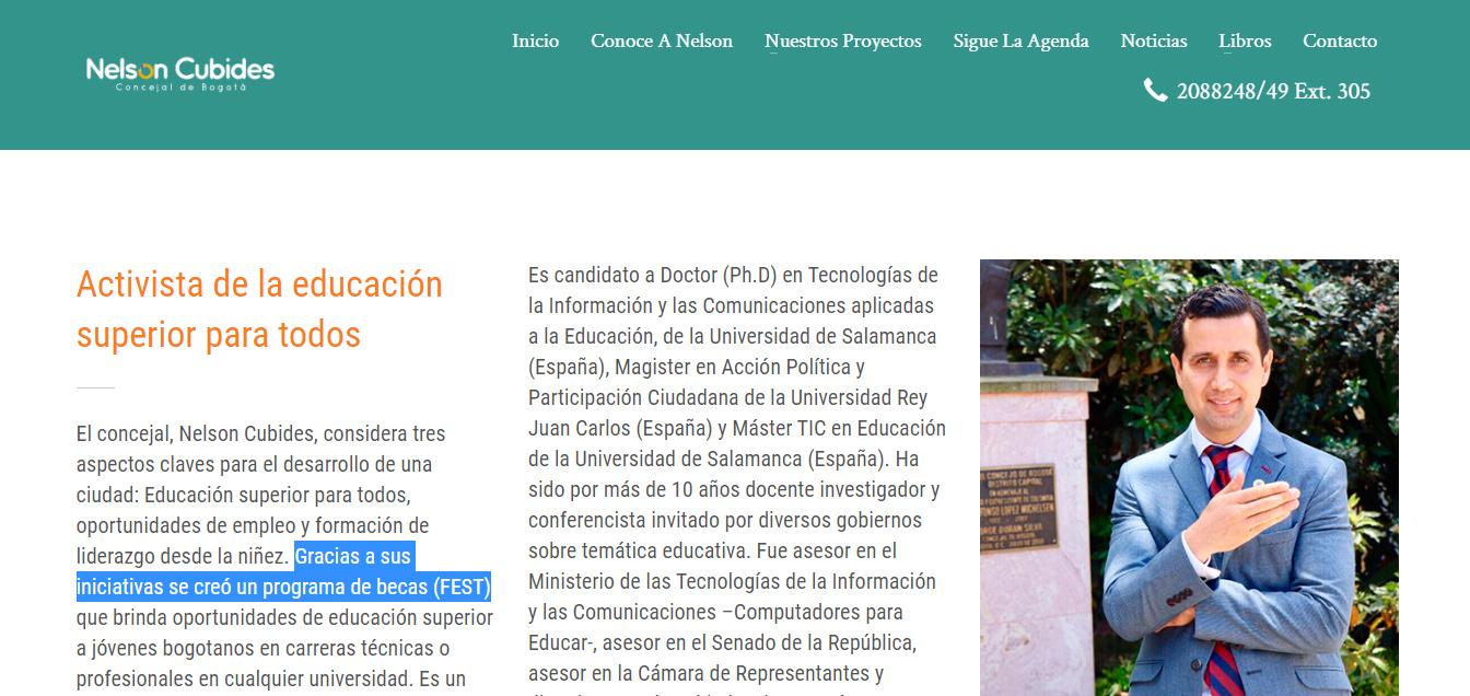 Captura de pantalla de la biografía de Cubides en su página oficial