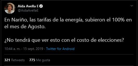 Captura de pantalla del tuit de Avella sobre las tarifas de electricidad