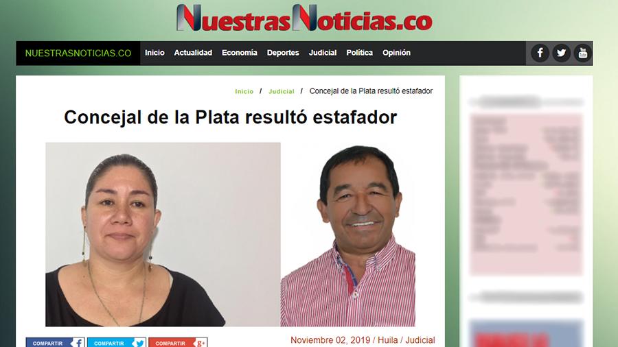 Captura de pantalla de la noticia sobre concejal de La Plata acusado de estafa