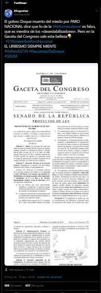 Tuit que presenta proyecto de ley laboral de Uribe como reforma del Gobierno