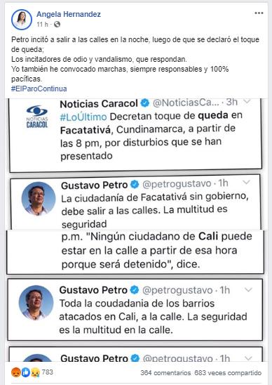 Captura de pantalla de la publicación de Ángela Hernández sobre Petro
