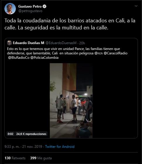 Otro tuit de Petro sobre toque de queda en Cali