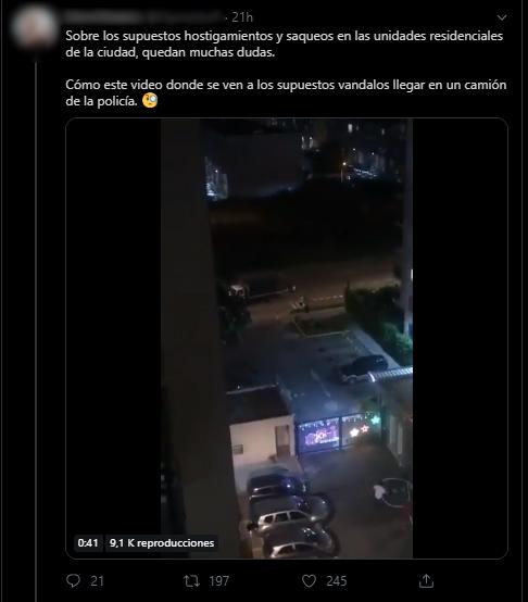 Tuit con afirmación falsa sobre camión dejando vándalos en Cali