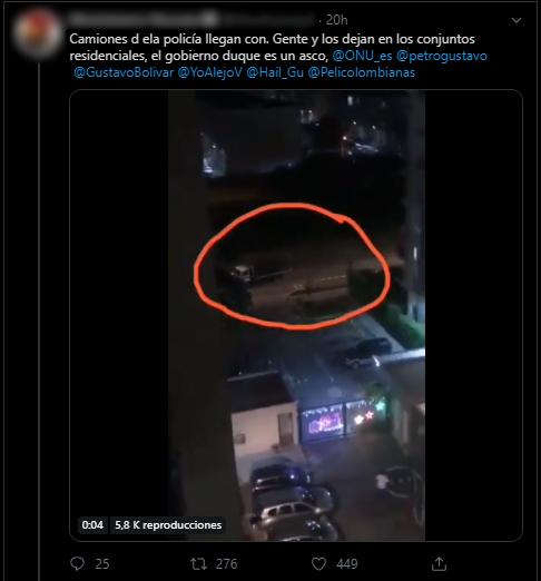 Otro tuit con video de camión dejando a vecinos en conjunto de Cali