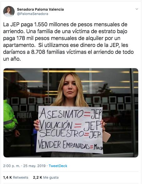 Trino de la senadora Paloma Valencia comparando el arriendo de la JEP con un arriendo de clase media-baja