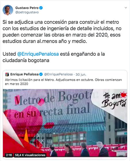 Trino de Peñalosa y respuesta de Petro sobre el inicio de las obras del metro de Bogotá