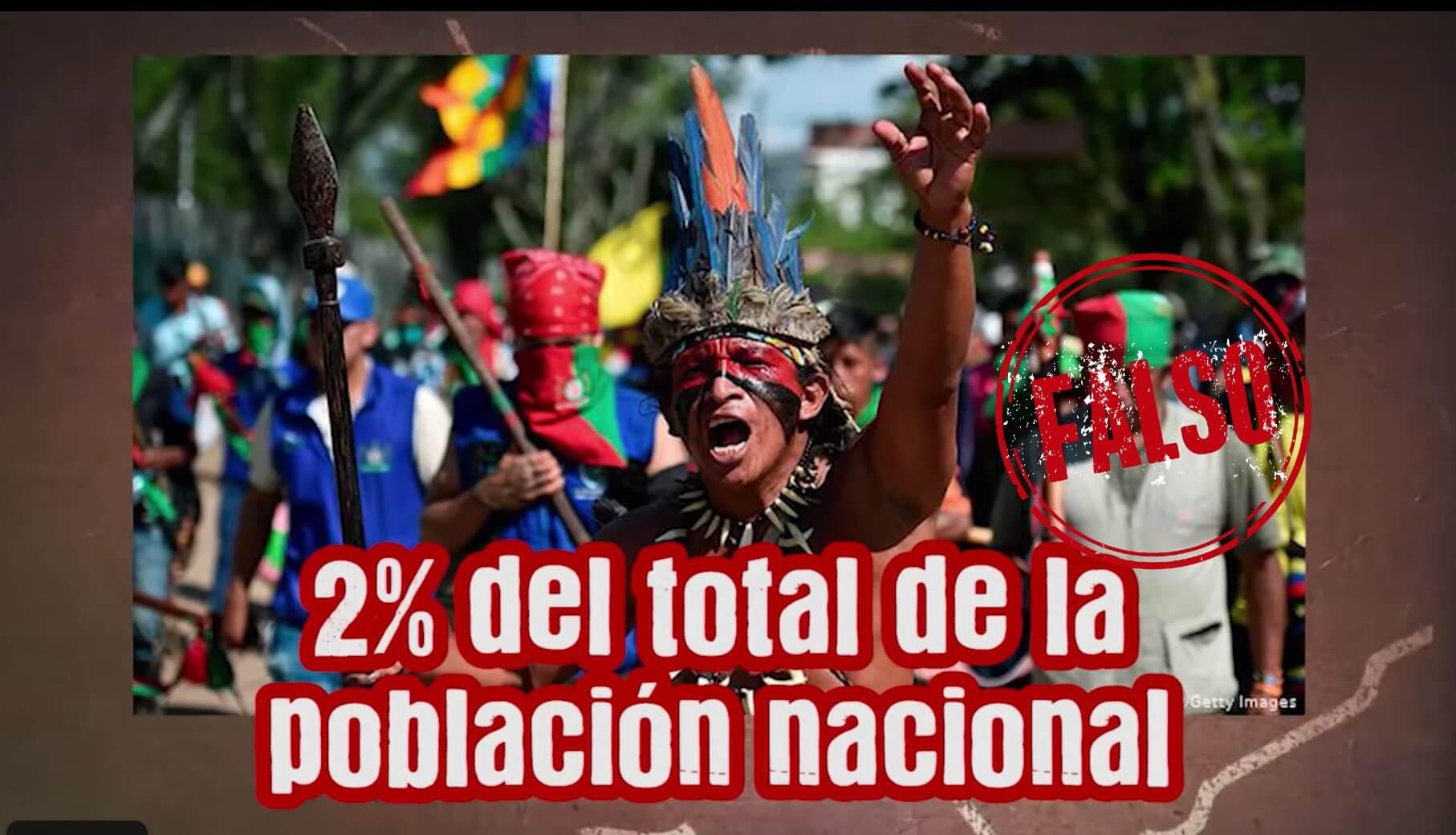pantallazo de video de la polla que dice que indígenas son el 2% de la población