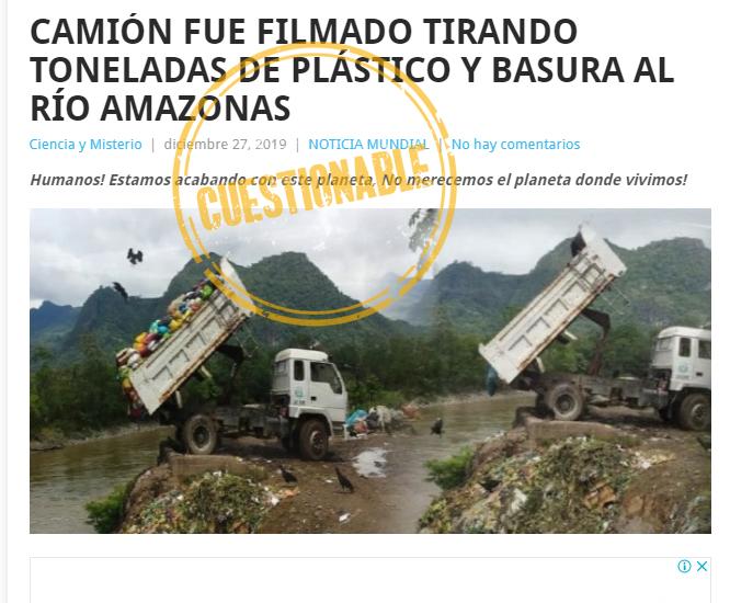 Captura de pantalla de la nota sobre camión tirando basura a un río