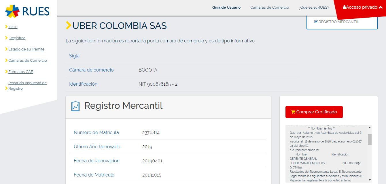 Uber Colombia SAS en el Registro Único Empresarial (Rues)