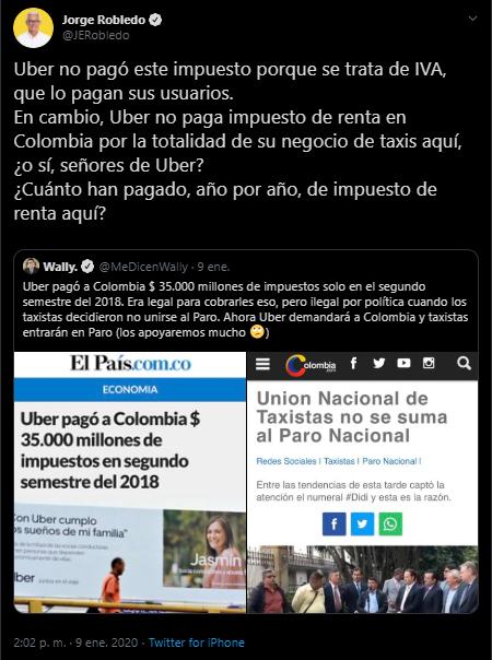 Tuit de Jorge Robledo sobre pago de impuestos por parte de Uber