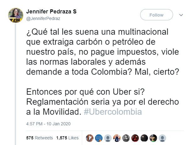 Tuit de Jennifer Pedraza donde insinúa que Uber no paga impuestos